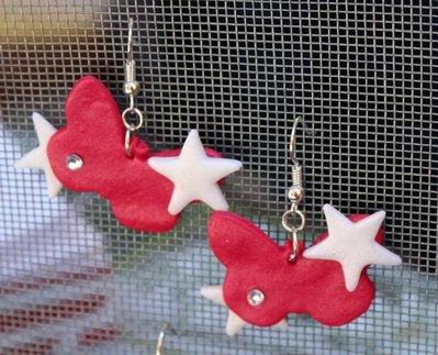 Orecchini Farfalle rosse e stelle