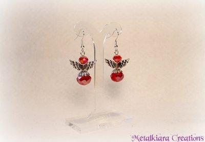 Orecchini angeli cristallo rosso