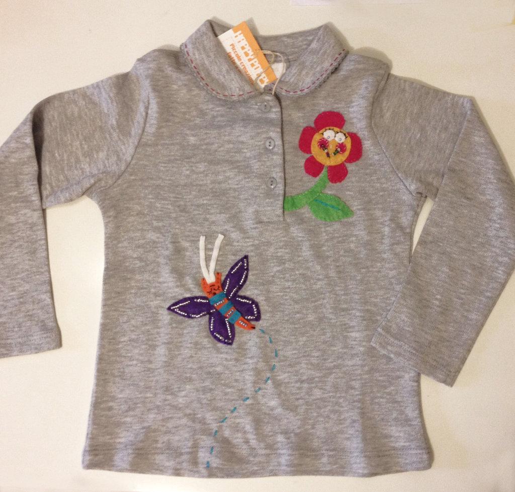 Maglia cotone maniche lunghe Fiorella e Farfallino