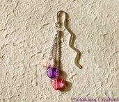 Segnalibro argento con cuoricini rosa-fuxia-viola
