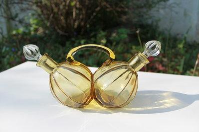 Oliera in vetro color ambra vintage