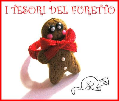 """Anello """"Gingerbread Pandizenzero"""" Fimo cernit kawaii natale 2013"""