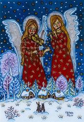 La musica inverno angelo notte santa natura stampa