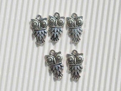 5 charms gufi metallo