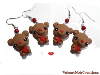 orecchini orsetto kawaii con cuore creati a mano in fimo idea regalo
