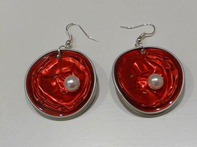 Coffee&pearl earrings, orecchini di cialde Nespresso con perla