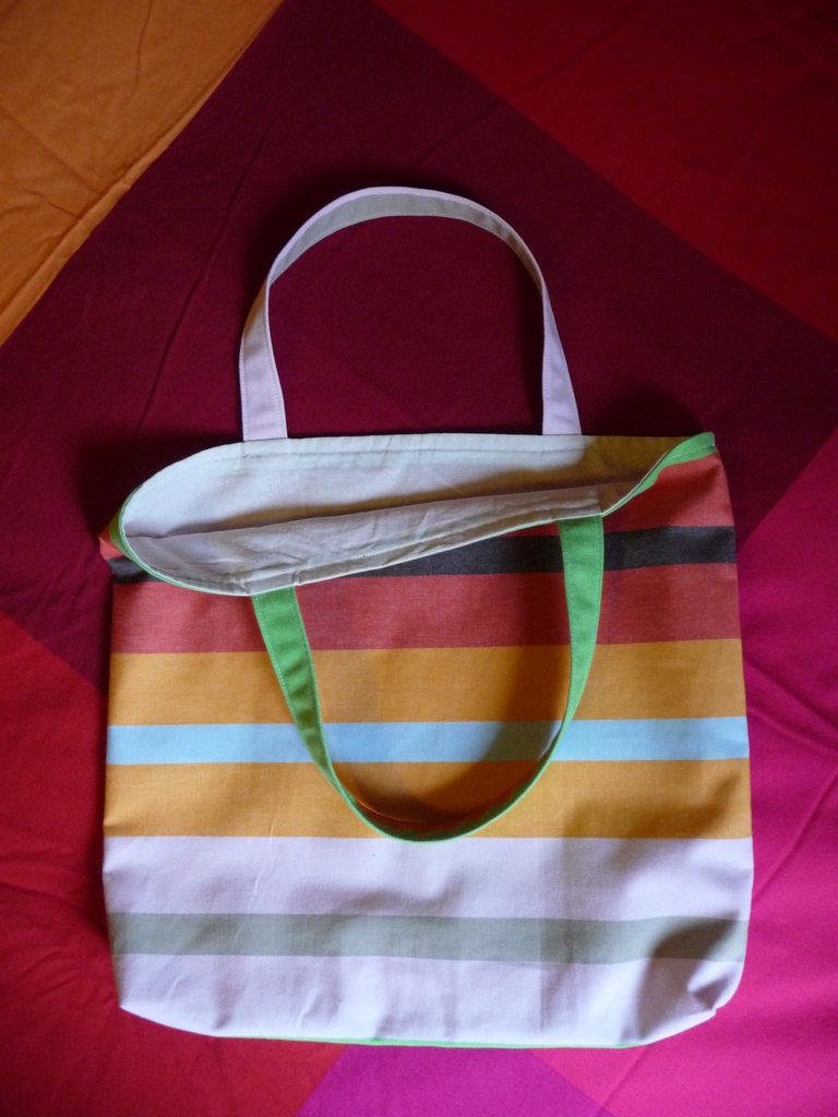 Shopper di tela a righe