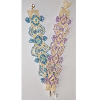 Bracciale in macramè con perline piccole e grandi sfaccettate