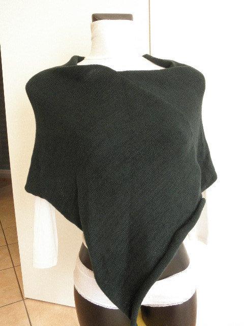 Poncho verde scuro,super morbido,misto lana,fatto a mano,accessori donna
