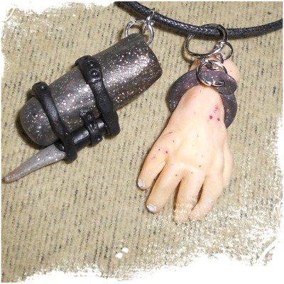 The Walking Dead collana con laccetto cerato e ciondolo in Fimo - Merle Dixon
