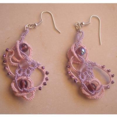 Orecchini a chiacchierino doppio colore filo e perline grandi e piccole