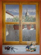 """quadro dipinto su tela a effetto artistico """"trompe l'oeil"""""""