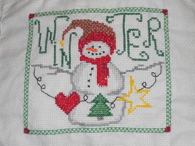 Ricamo natalizio pupazzo di neve