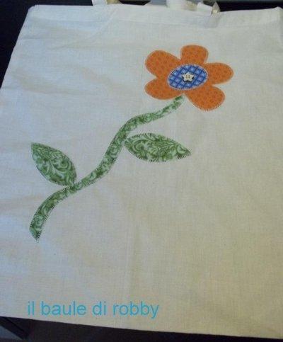 Borsa per la spesa in stoffa con applicazione di un fiore