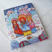 L'angelo canto natalizio cartolina biglietto di auguri