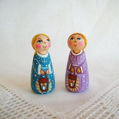 Buon Natale due angeli colorato figurina bambola