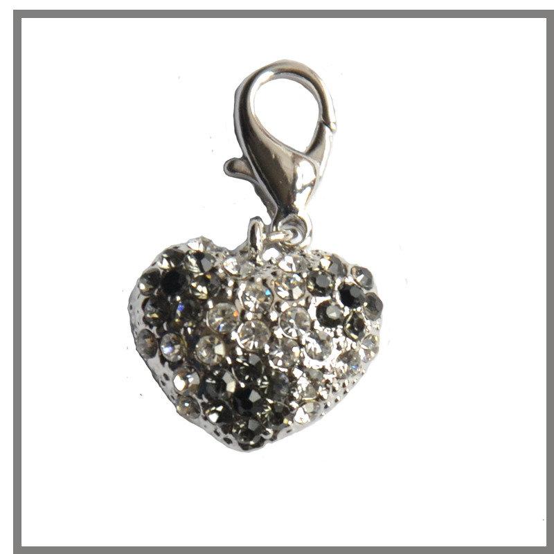 Ciondolo a forma di cuore con strass trasparenti e neri