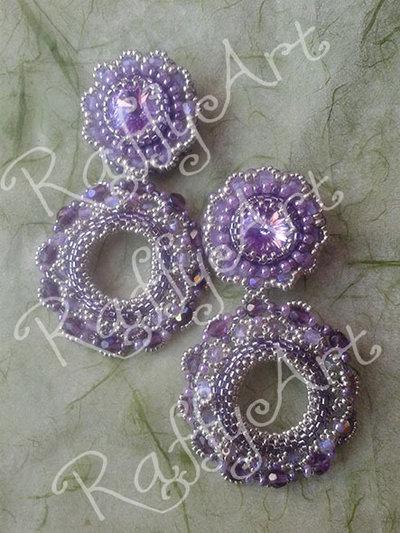 """Orecchini con perline e cristalli """"Lilac Symphony"""""""