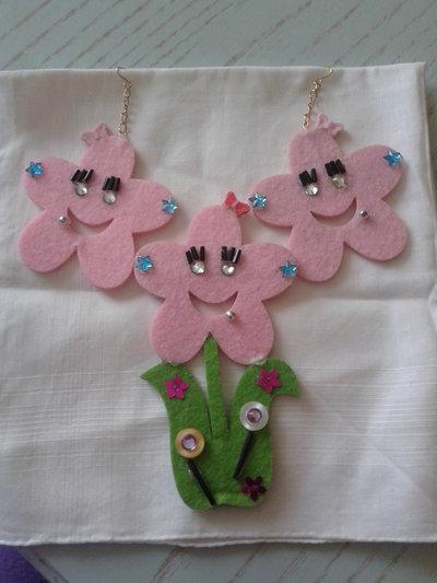 Completo orecchini e spilla fiore schic