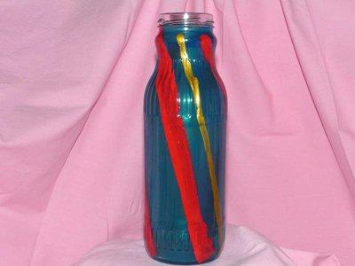 Bottiglia a strisce ,oro, blu  e rosse