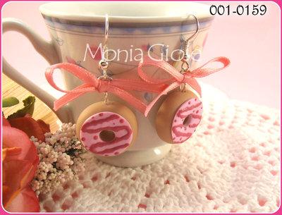 Orecchini ciambelline rosa.