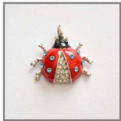 Coccinella con strass celesti ideale per portachievi e collane
