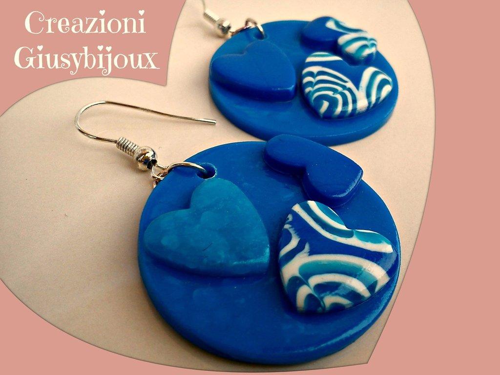 Orecchini cuore 3D  tondi blu azzurro  in fimo (polymer clay) fatto a mano