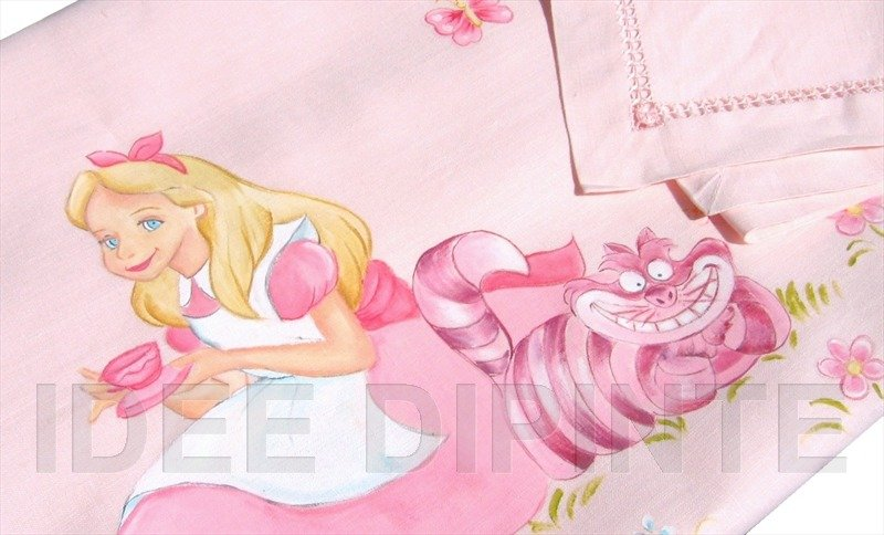 Lenzuolino dipinto - Alice nel paese delle Meraviglie