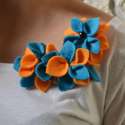 Spilla Flowers in feltro