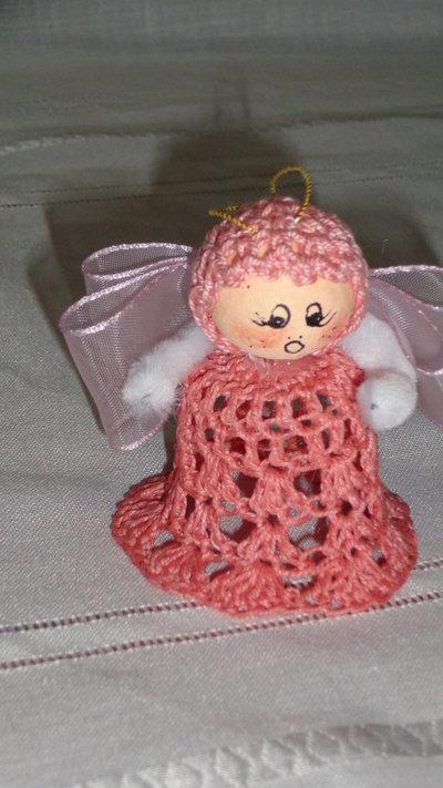 Angioletto in pizzo di cotone rosa