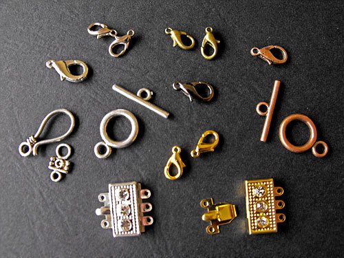 14 FERMAGLI chiusure oro argento rame bronzo nero