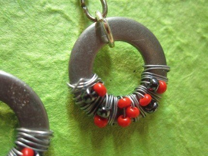red grey and black Washer Earrings