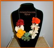 collana pannolenci  e perle multicolor