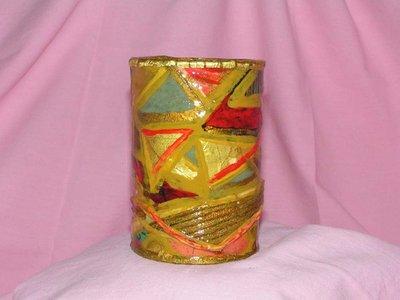 lattina rivestita con stoffa patchwork e carta dorata