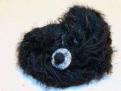 Sciarpa in lana merino, nera con lame' e bottone in madreperla