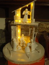 presepe terracotta bianca con luci