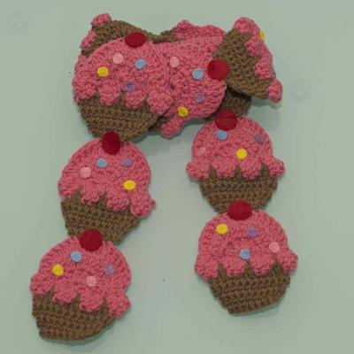 Sciarpa cupcakes uncinetto rosa