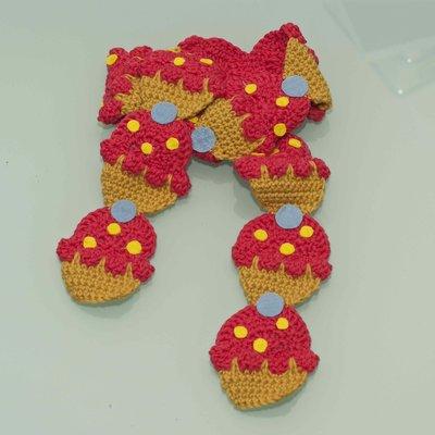 sciarpa cupcakes uncinetto fucsia