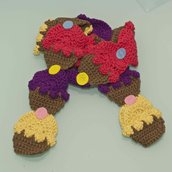 sciarpa cupcakes uncinetto multicolor