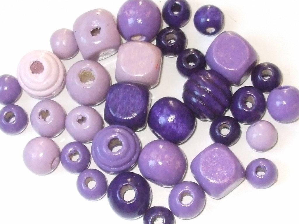 lotto 30 perle legno lilla e viola
