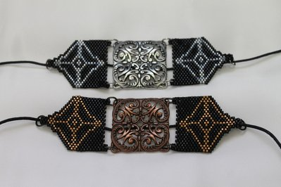 PROMOZIONE Bracciale Peyote con componente in Metallo Fatto a Mano Handmade
