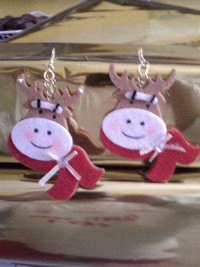 Orecchini Renna Di Natale in feltro