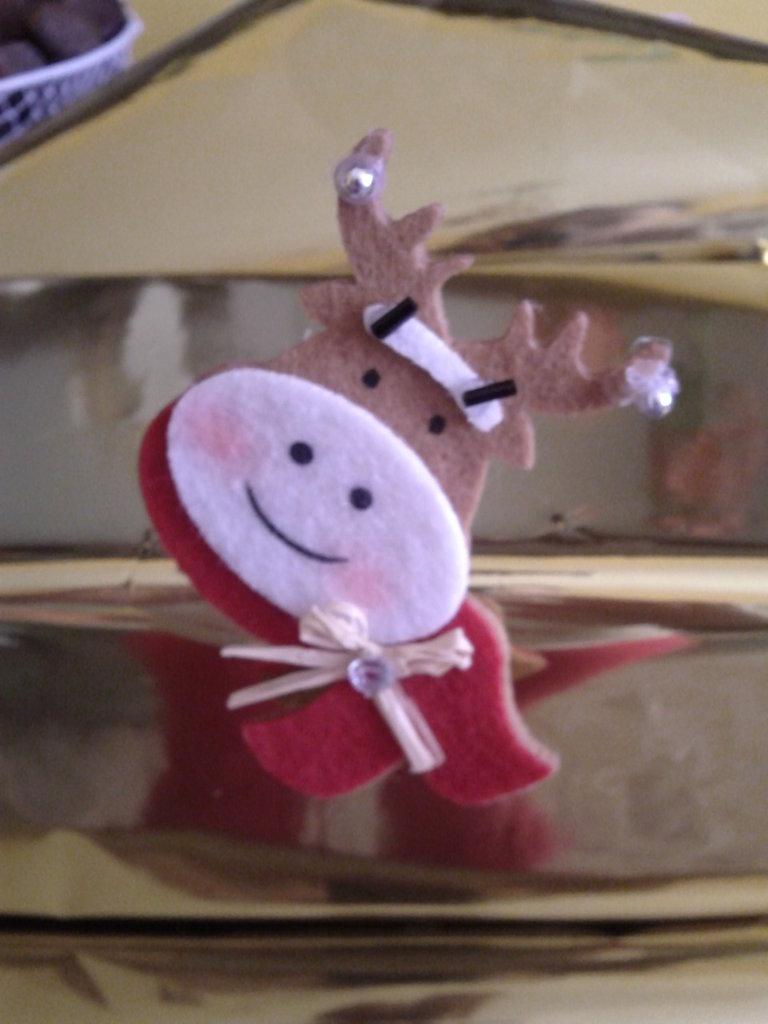 Spilla Renna buffa di Natale in feltro