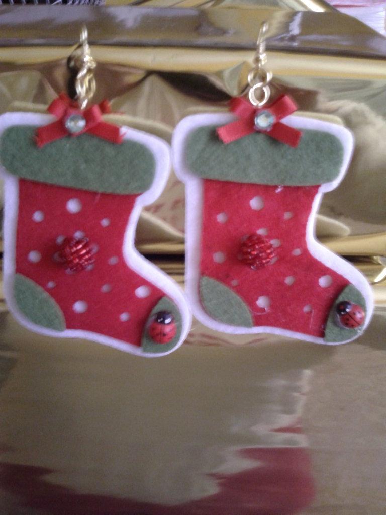 Orecchini a catenella a scarponcino di Natale