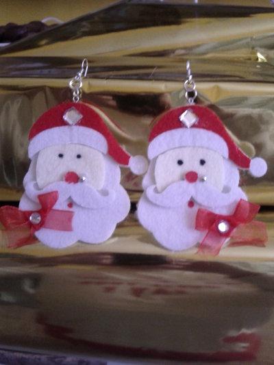 Orecchini a catenella faccia di Babbo Natale