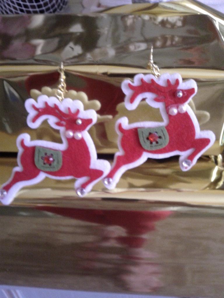 Orecchini a catenella Renna di Natale che vola