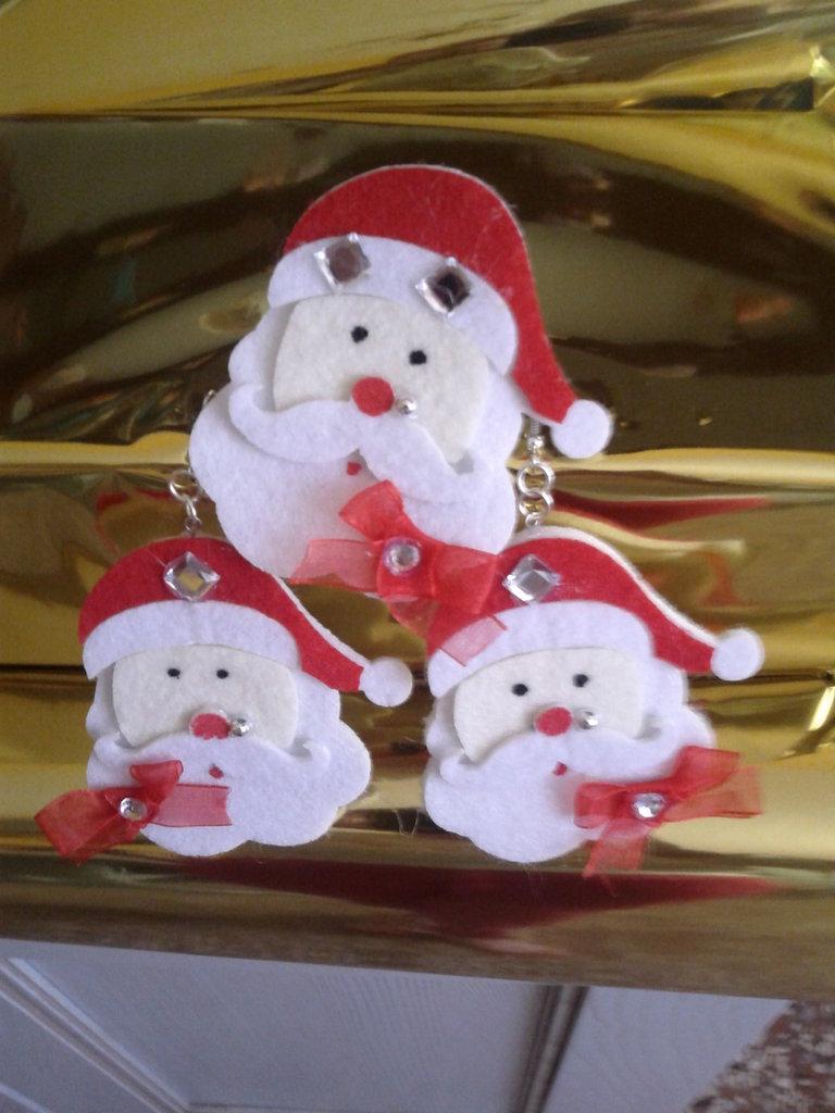 Completo spilla e orecchini personaggi di Natale