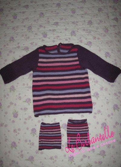 vestito + scaldamuscoli a righe per bambina