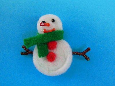 Decorazione natalizia segnaposto 'pupazzo di neve' in feltro