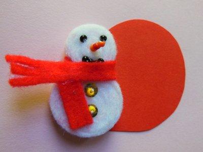 Segnaposto natalizio in feltro 'Pupazzo di neve', economico, spiritoso, elegante